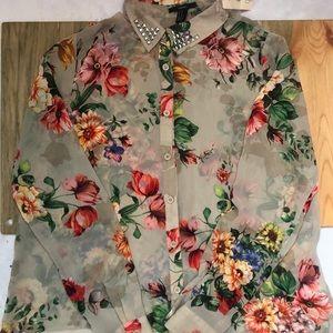 Forever 21 Medium Stud Floral Career Blouse New